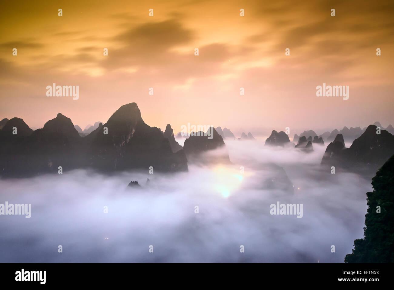 Karst Mountains of Xingping, China. - Stock Image