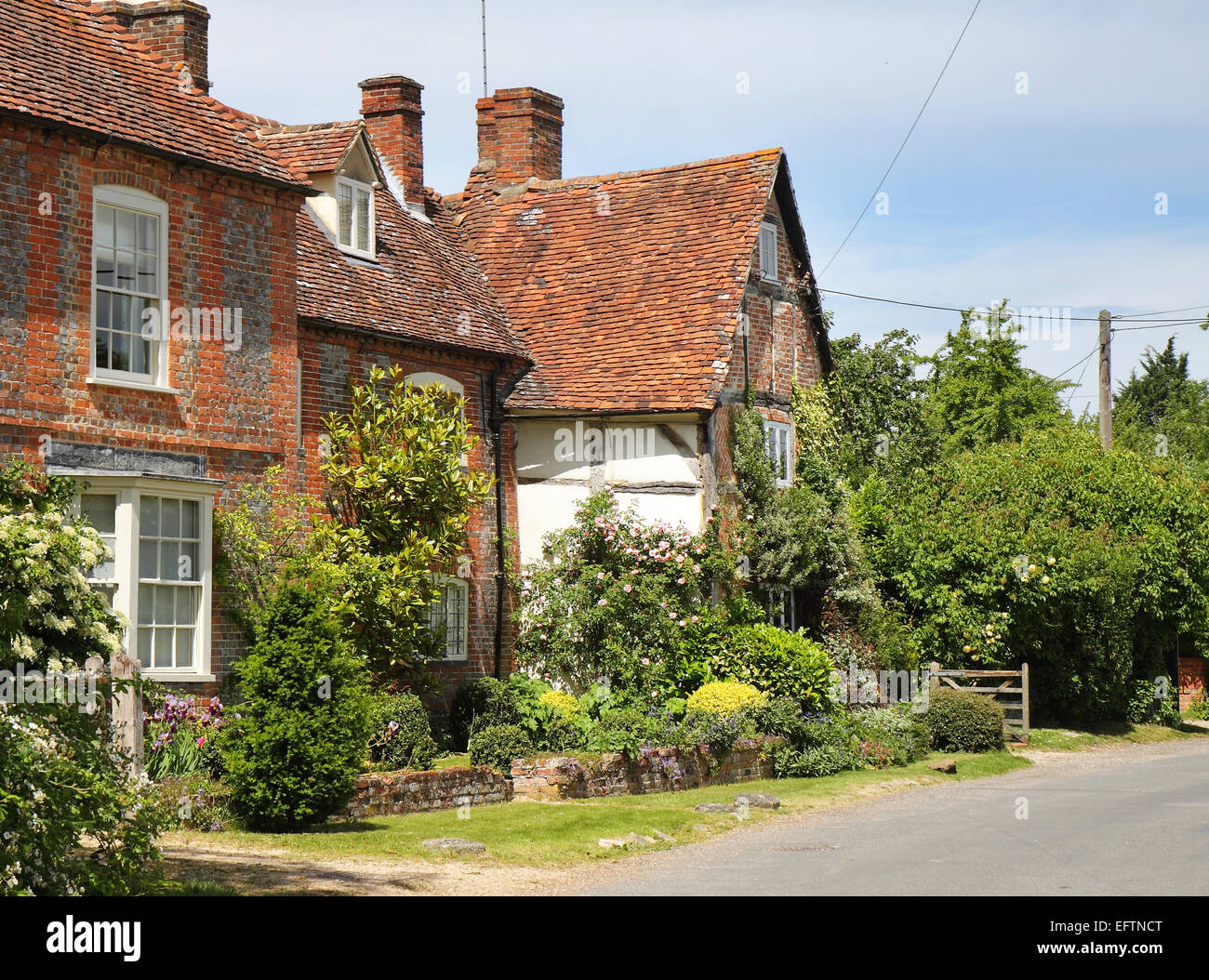 A Row of quaint Cottages in an English Village street in Summer - Stock Image