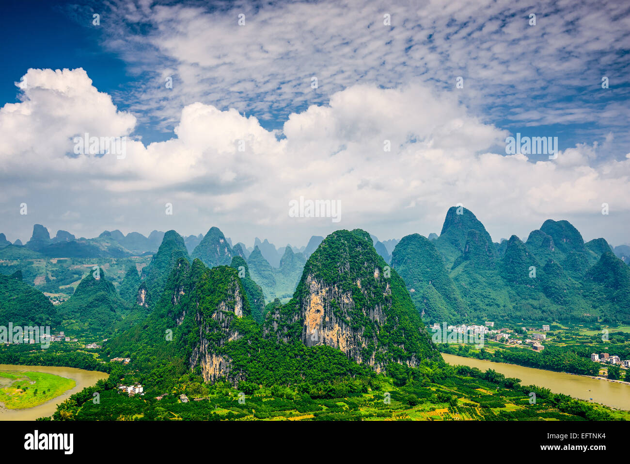 Karst mountain landscape in Xingping, Guangxi Province, China. Stock Photo