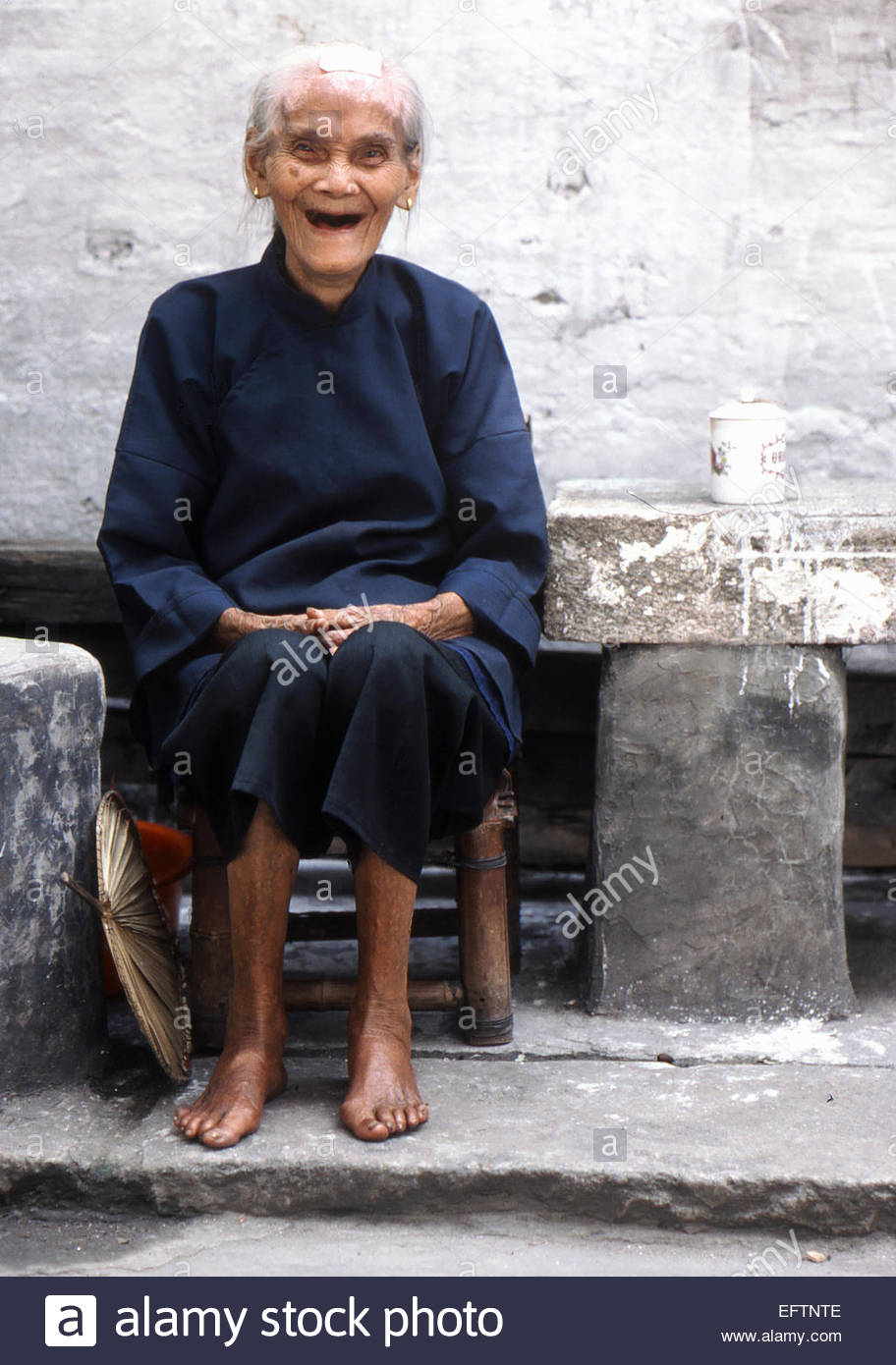 Sitting On Wooden Chair Stool Laughing People Person Woman Women Chinese  Ethnicity Senior Mature Elderly Peoples Republic Of Ch