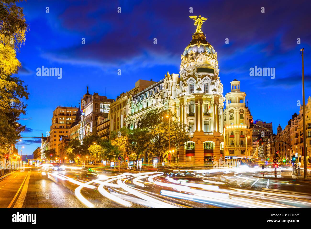 Madrid, Spain cityscape at Calle de Alcala and Gran Via. - Stock Image