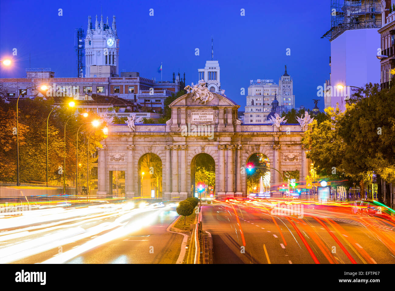 Madrid, Spain cityscape at Puerta de Alcala Gate and Calle de Alcala. - Stock Image