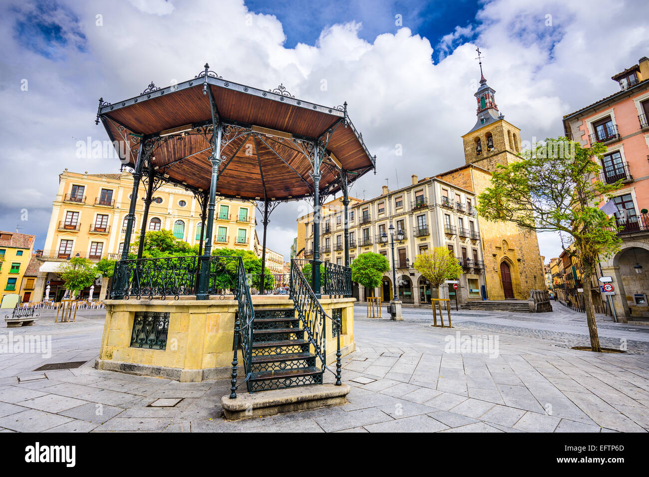 Segovia, Spain gazebo in Plaza Mayor. - Stock Image
