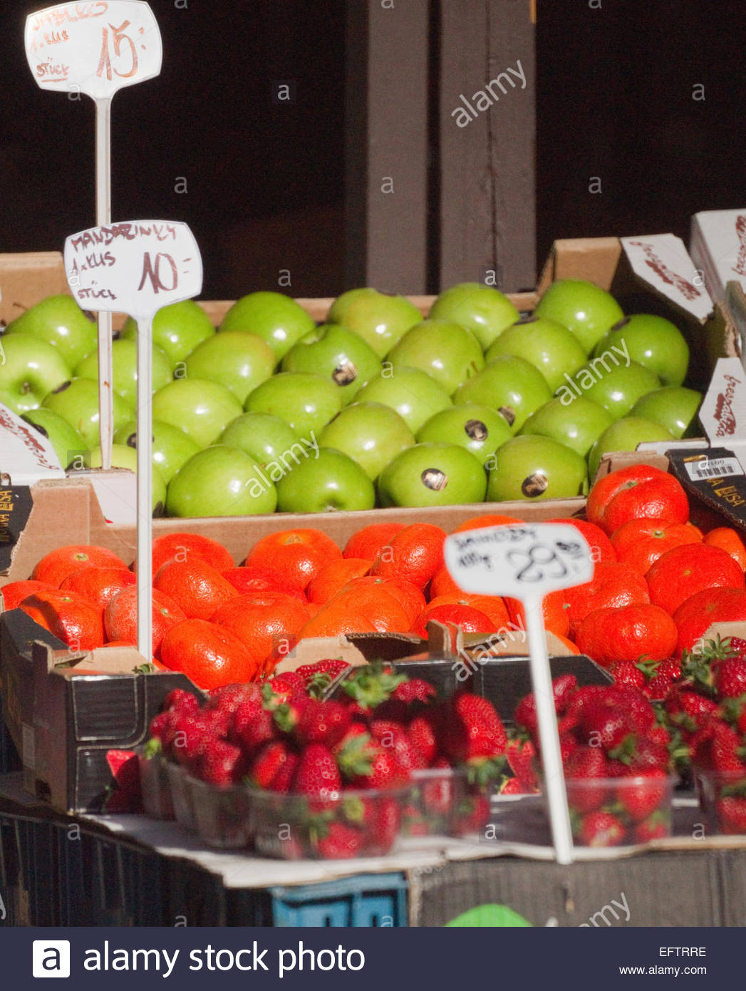 Prague Czech Republic Europe Nobody Shop Store Shopping Food And Drink Green Grocer Apples Fresh Fruits Tangerines Stock Photo