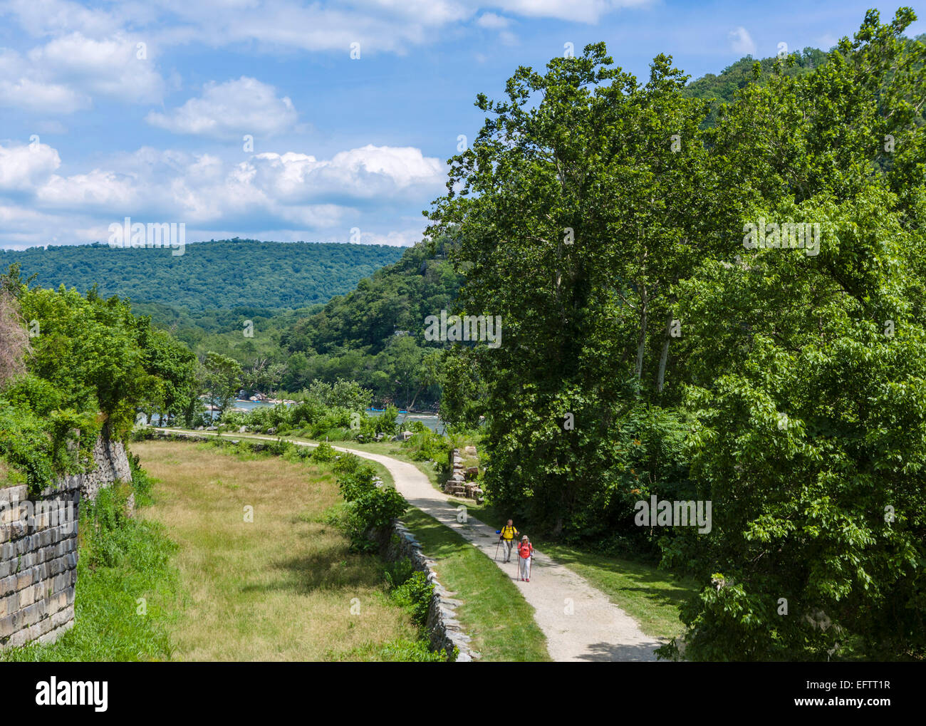 The Chesapeake and Ohio Canal Towpath, part of the Appalachian Trail, Harpers Ferry National Historic Park, West - Stock Image