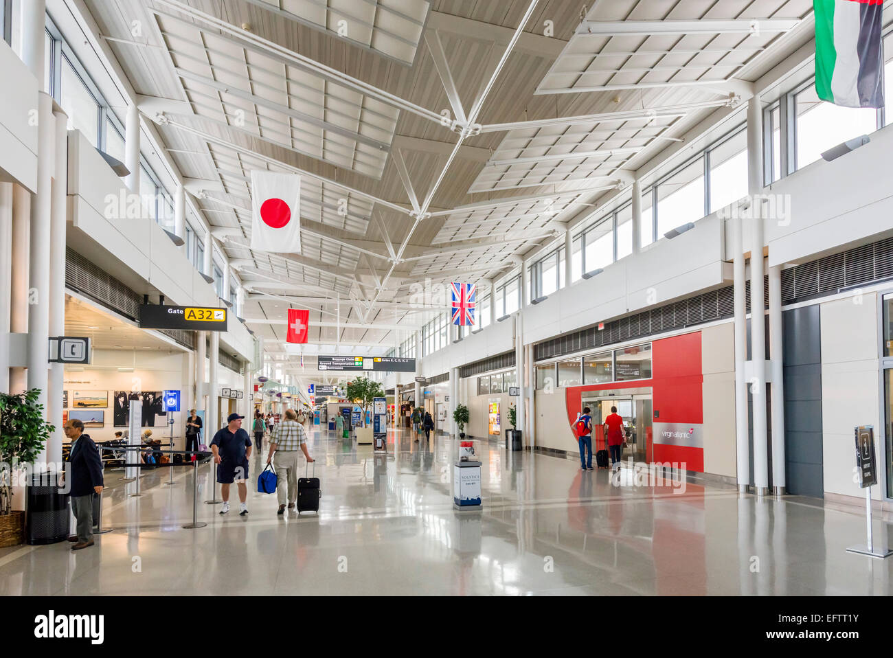 Departure gates at Washington-Dulles International Airport, Dulles, Virginia, USA - Stock Image