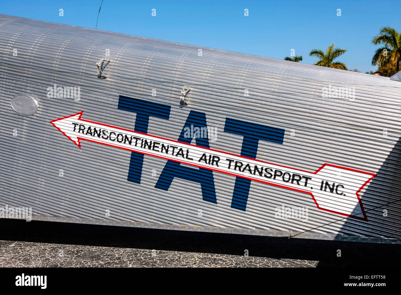 Logo of TAT - Transcontinenral Air Transport Inc on the side of a 1929 Ford 4-AT-E Trimotor aircraft - Stock Image