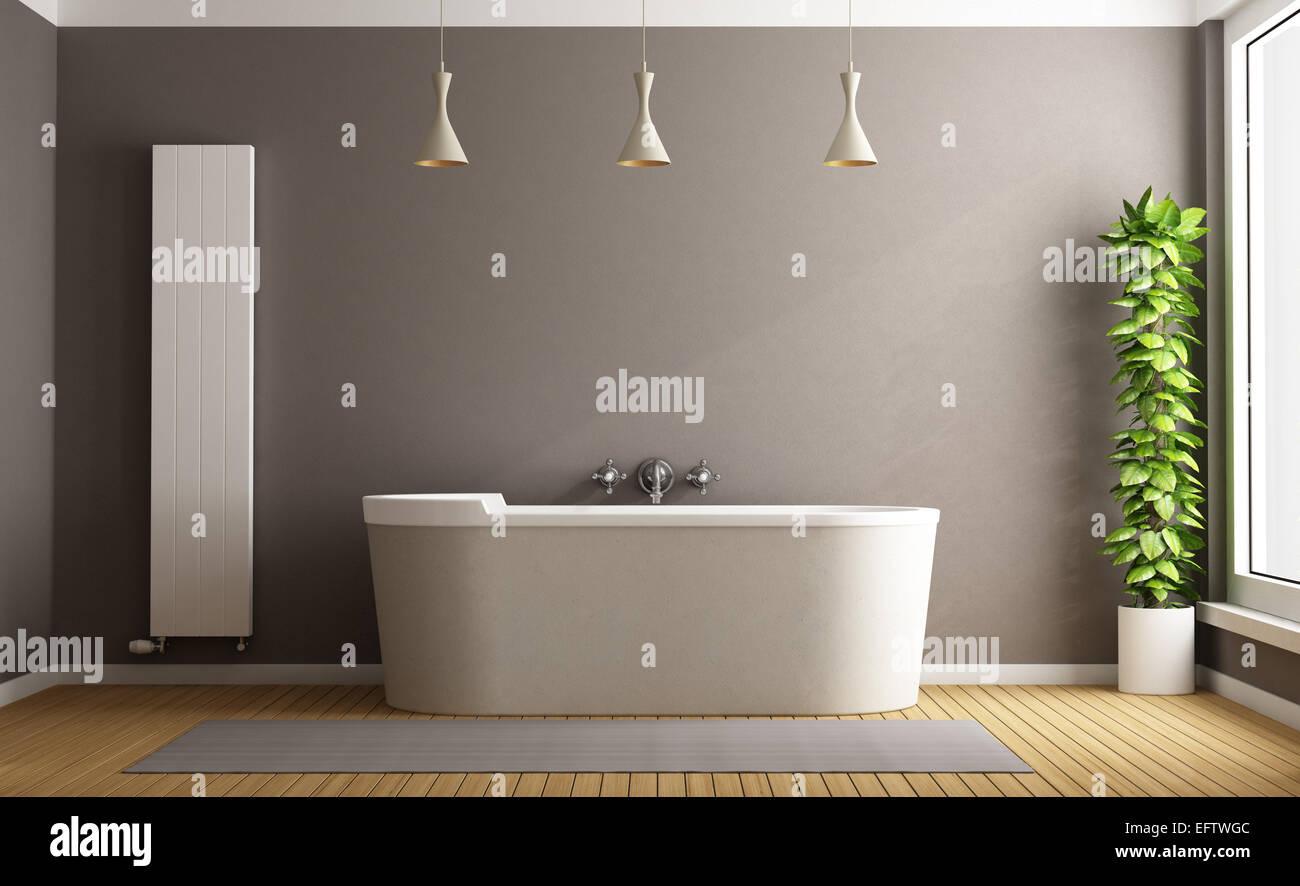 Minimalist bathroom with elegant bathtub, vertical heater and plant ...