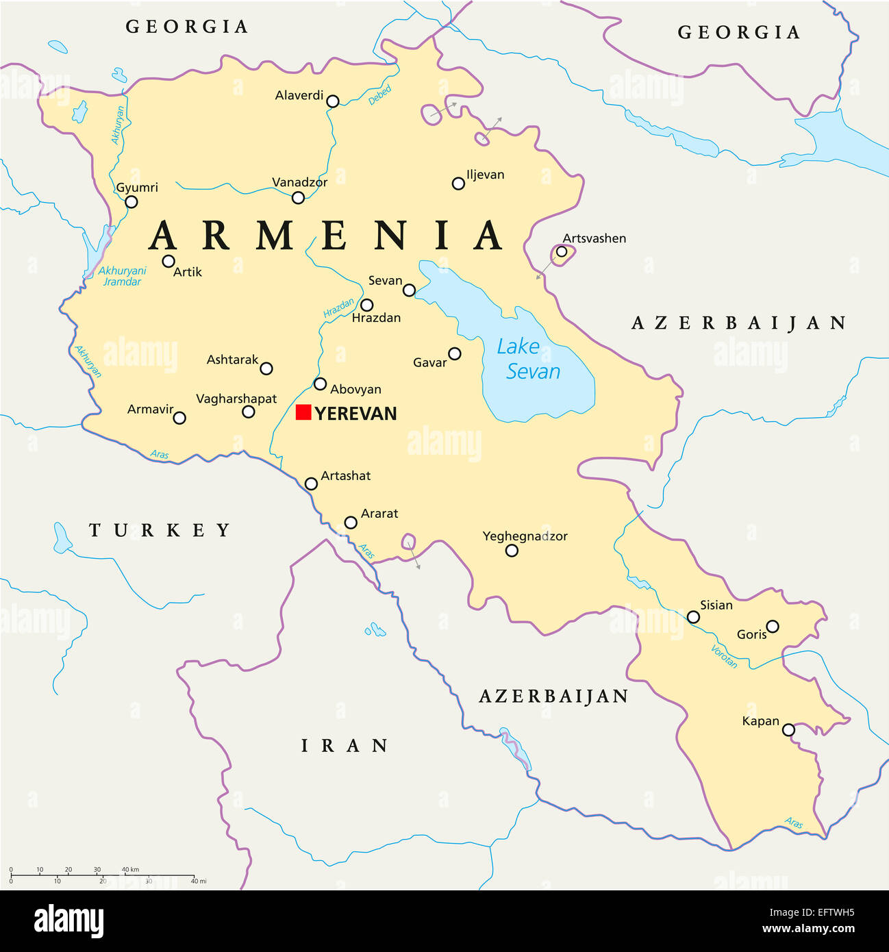 Armenia Political Map with capital Yerevan, national borders, important cities, rivers and lakes. English labeling - Stock Image