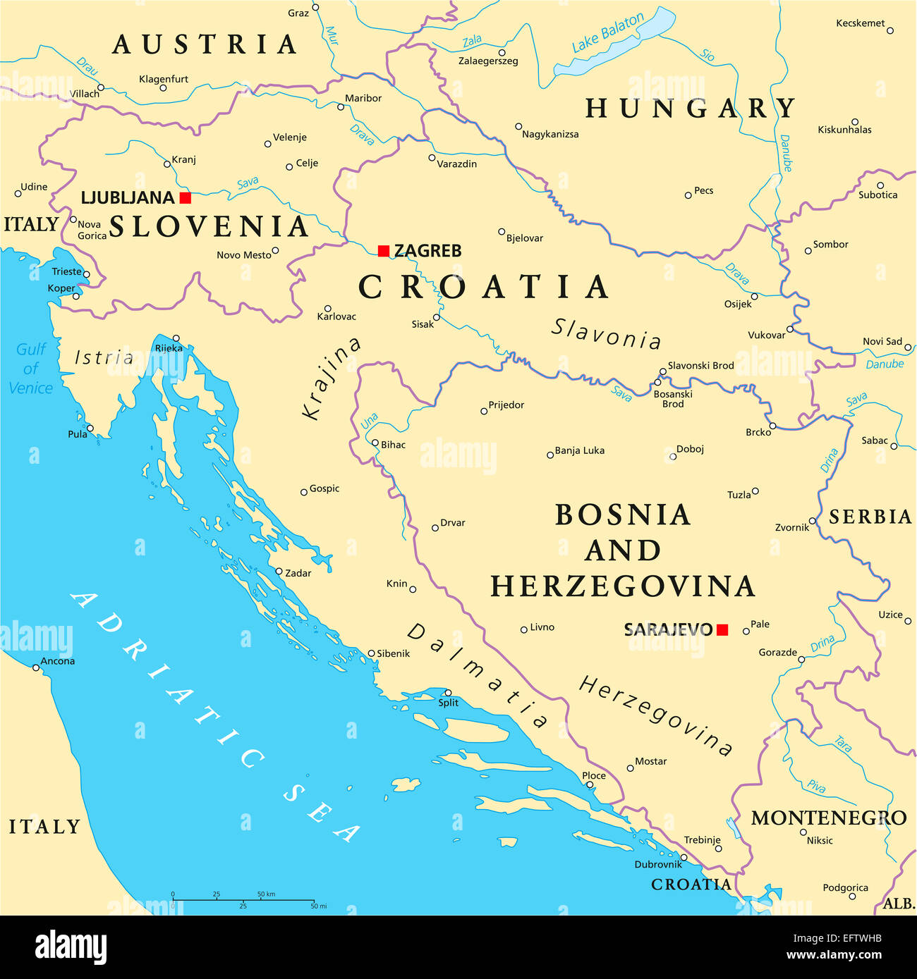 West Balkan Political Map - Stock Image
