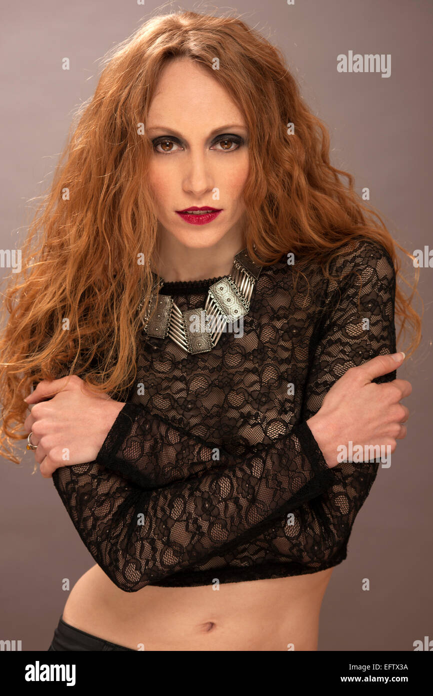 01eed9dd7227f Black Lace Top Stock Photos   Black Lace Top Stock Images - Alamy