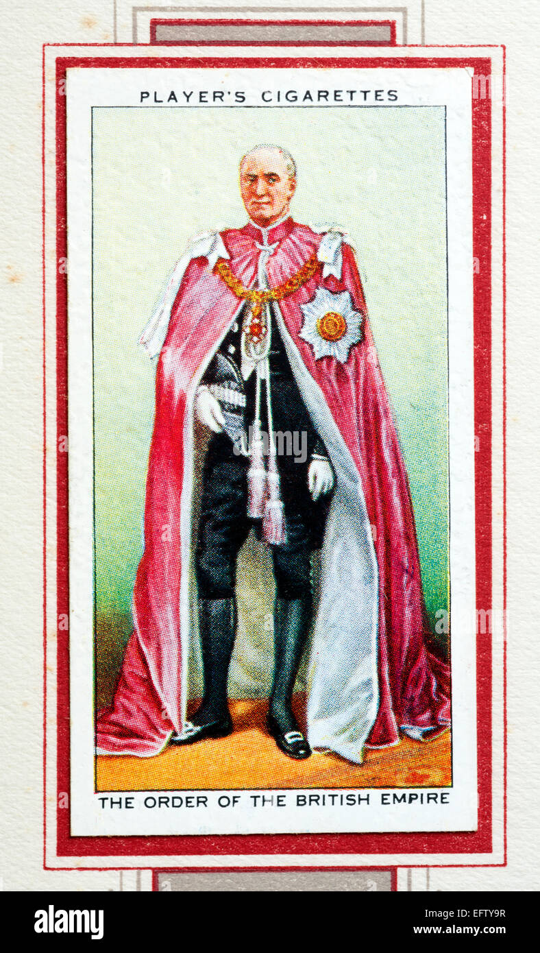 Player`s cigarette card - The Order of the British Empire. - Stock Image