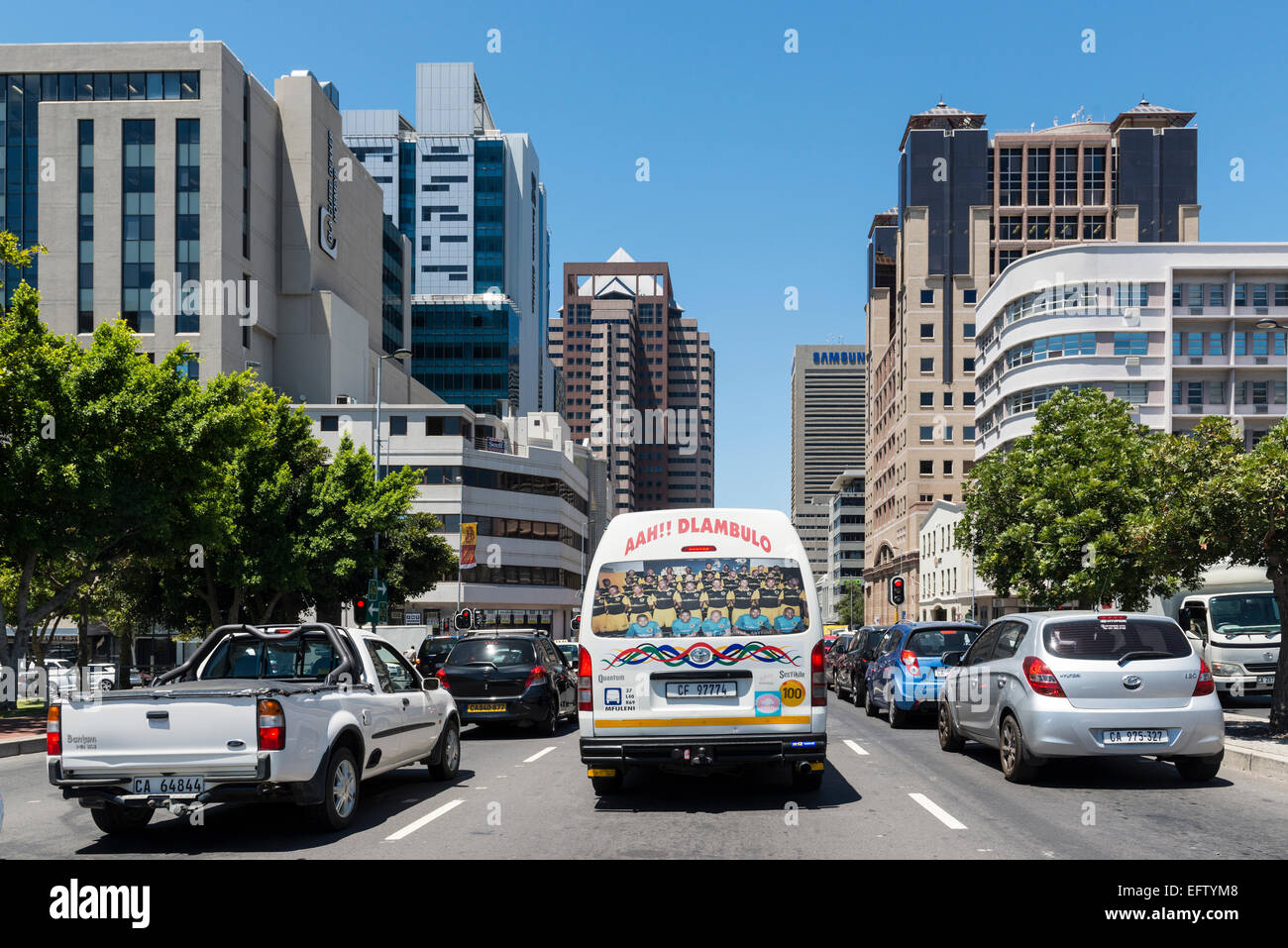 Cars and minibus in  traffic on Strand Street, Cape Town, Western Cape, South Africa - Stock Image