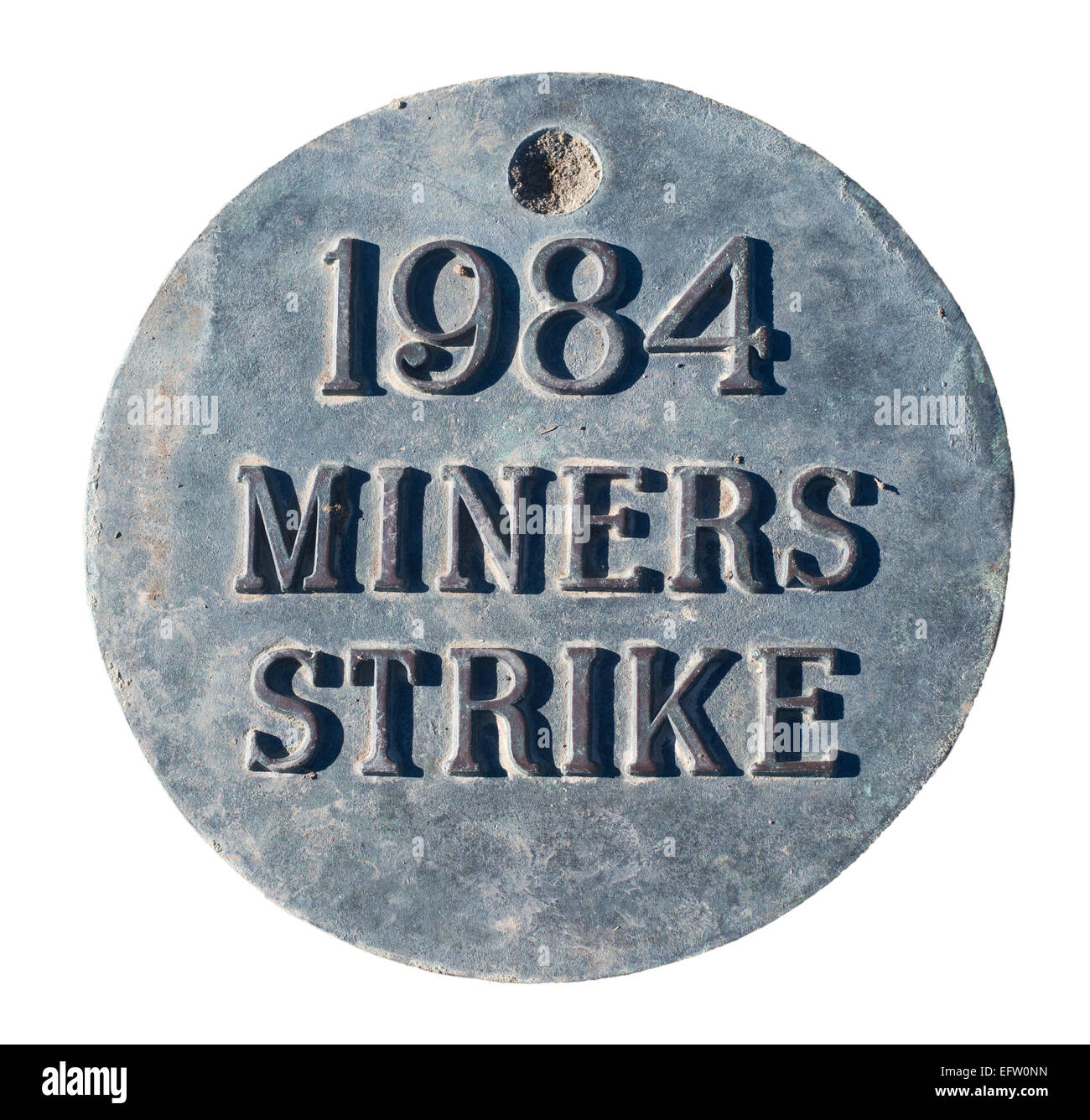 Bronze plaque 1984 miners strike, seen at  Easington Colliery, north east England UK, isolated on  a white background - Stock Image