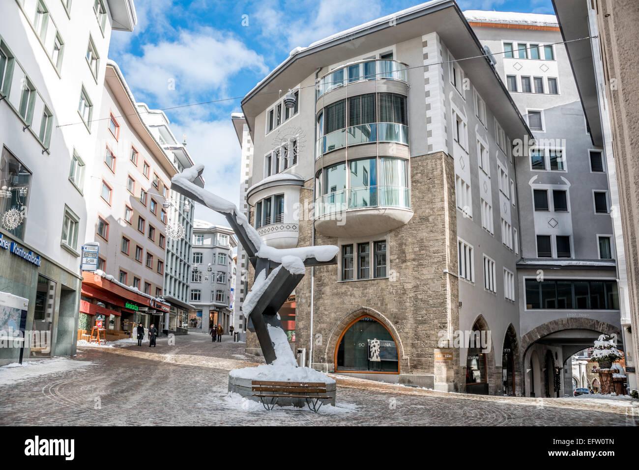 Town center of St.Moritz, Grisons, Switzerland   Im Stadtzentrum von St.Moritz Dorf, Graubuenden, Schweiz Stock Photo