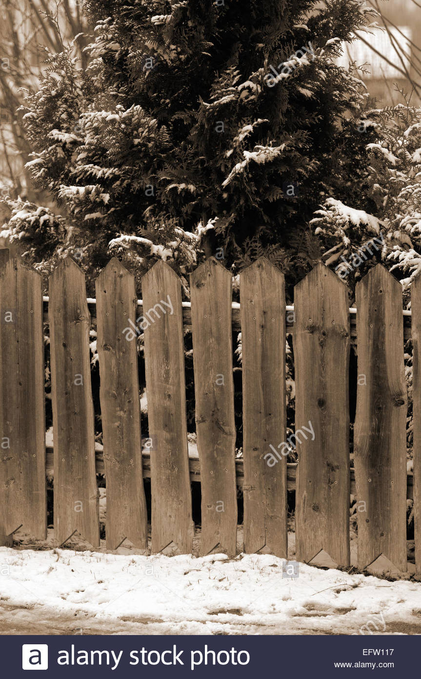 Wooden Picket Garden Fence Snow Snowy winter Snow covered cold Rural ...