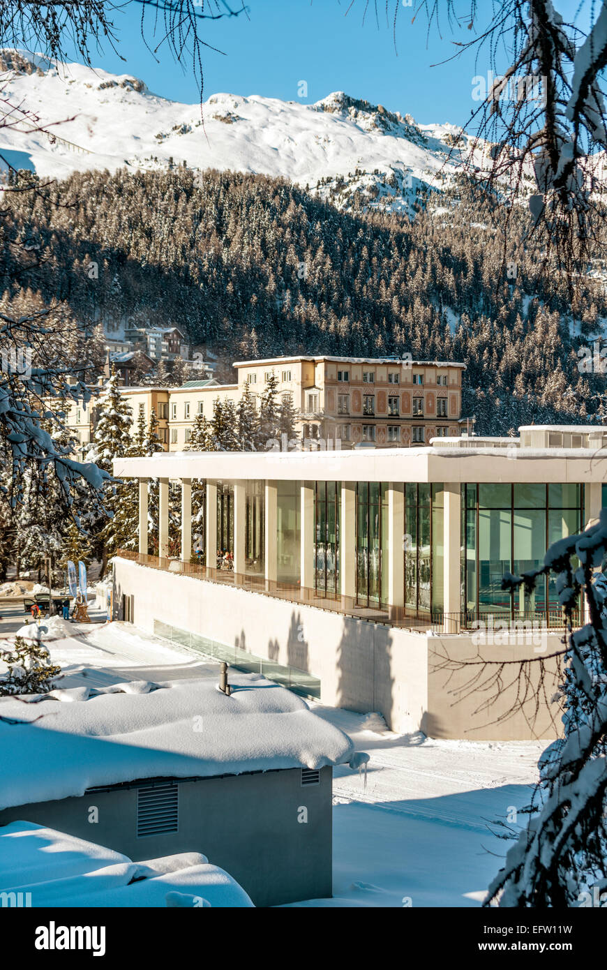 Ovavera Pool, a new Spa and Sport Center, St.Moritz Bad, Grisons, Switzerland. | Ovavera das neue Hallenbad und - Stock Image