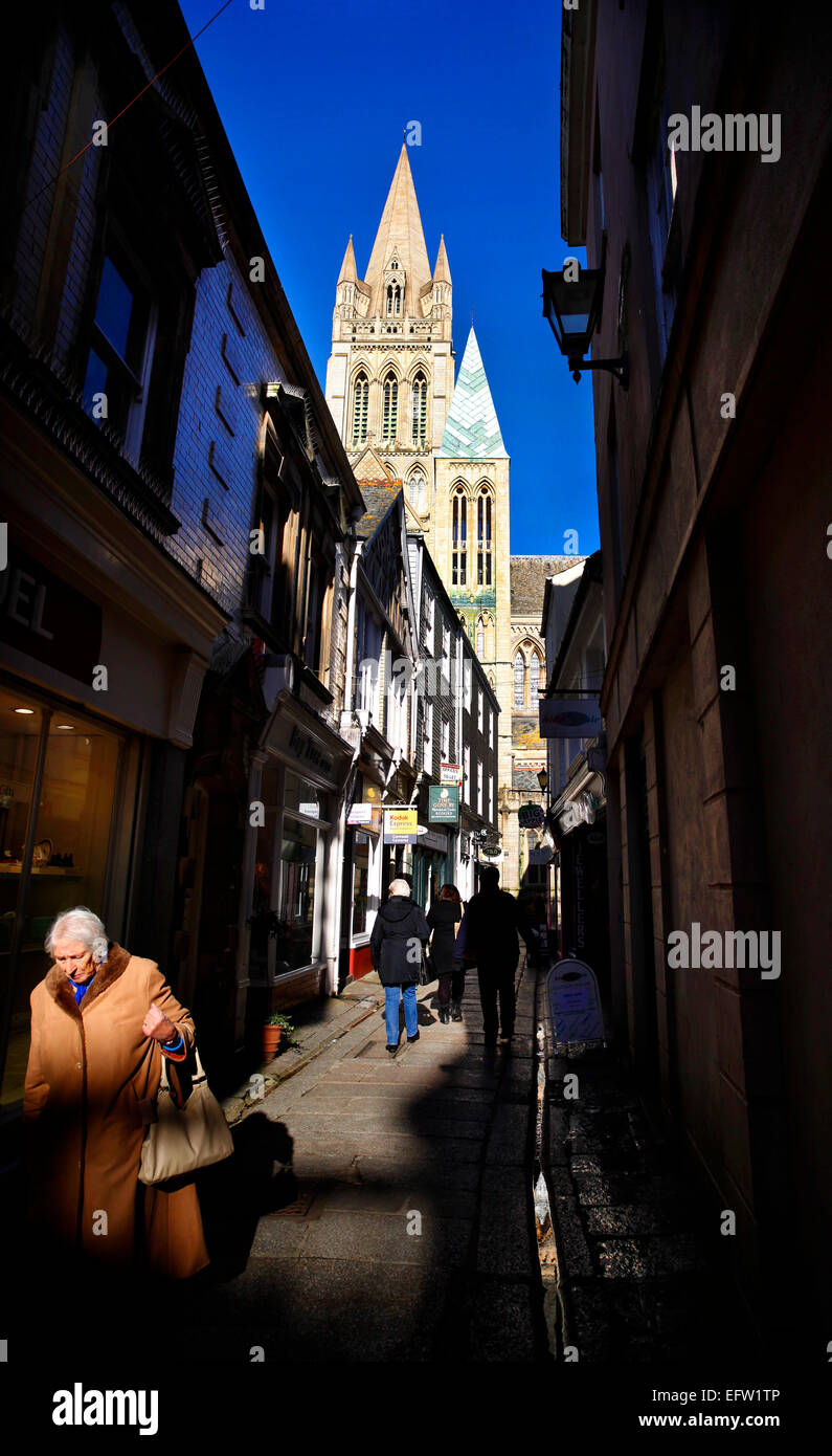 Truro Cathedral seen from Cathedral Lane. - Stock Image