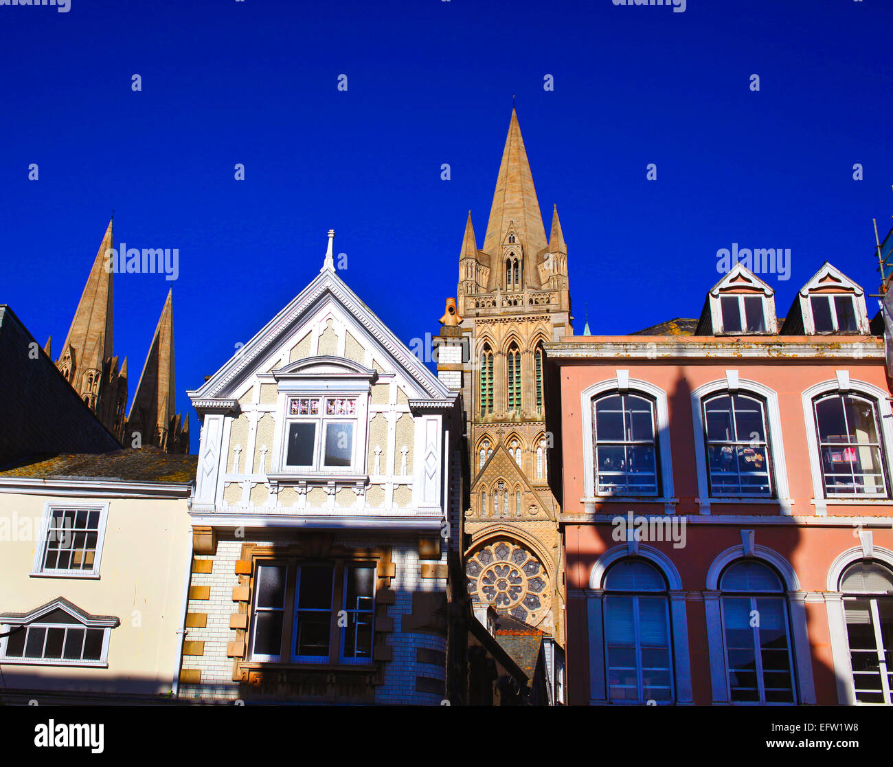 Truro Cathedral at the end of Cathedral Lane seen from Boscawen Street. - Stock Image