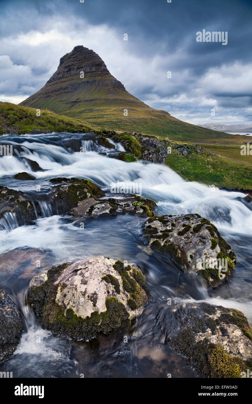 Iceland Landscape.  Image of Kirkjufell mountain on Snaefellsnes Peninsula, Iceland. - Stock Image