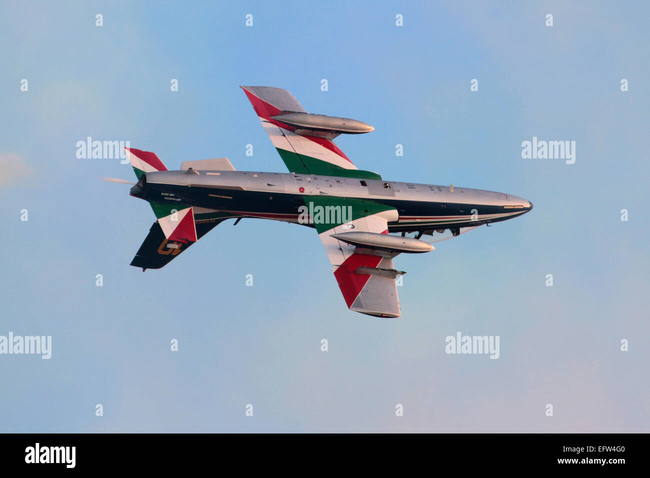 Military aviation. Aermacchi MB-339 of the Frecce Tricolori aerobatic team flying inverted during a display Stock Photo