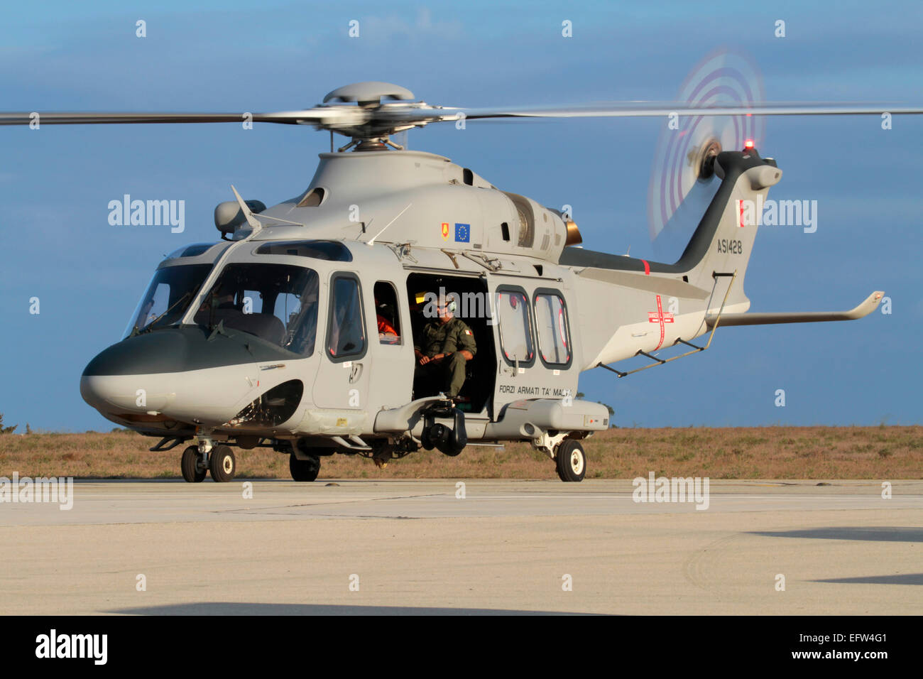 AgustaWestland AW139 military helicopter of the Armed Forces of Malta - Stock Image
