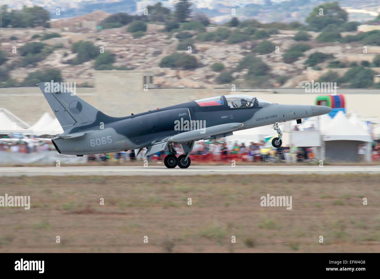 Aero L-159 ALCA (advanced light combat aircraft) landing after a display in Malta Stock Photo