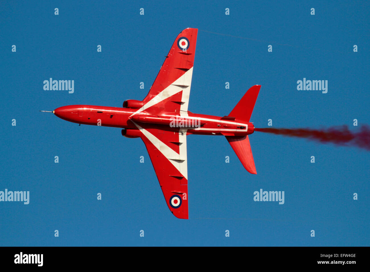 British Aerospace Hawk of the Royal Air Force aerobatic team the Red Arrows during a display - Stock Image