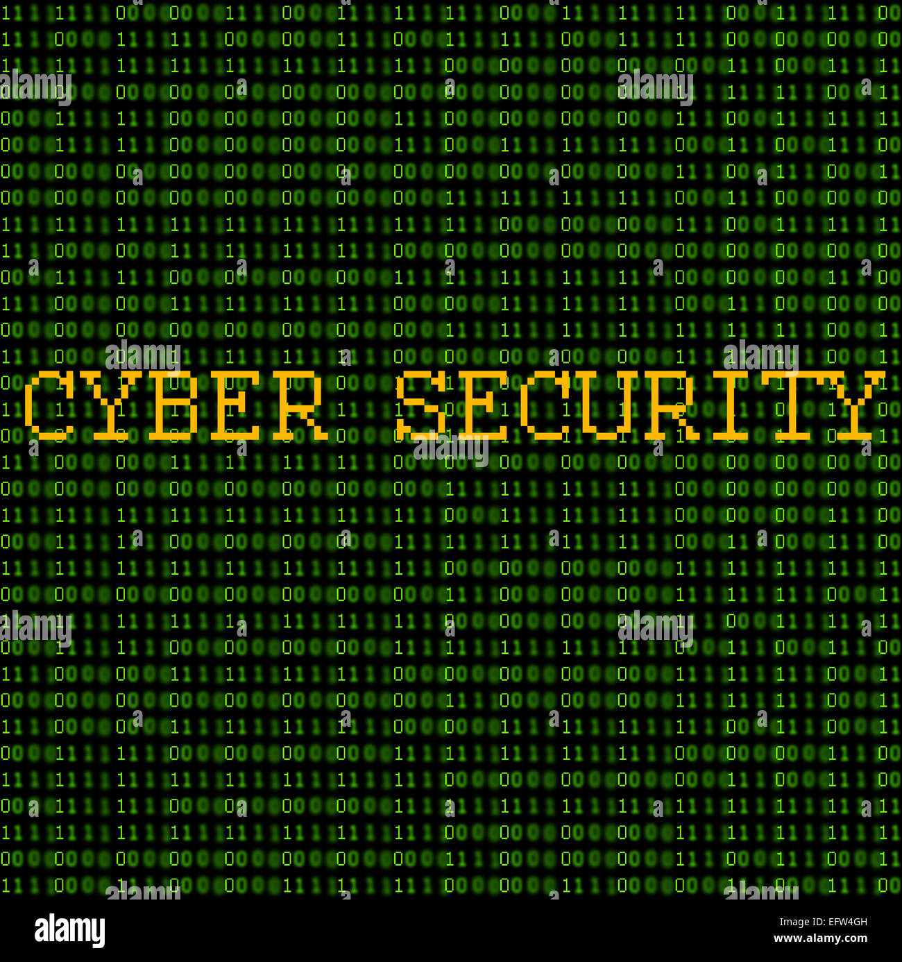 Green binary code with the words 'Cyber Security' on a black background. - Stock Image