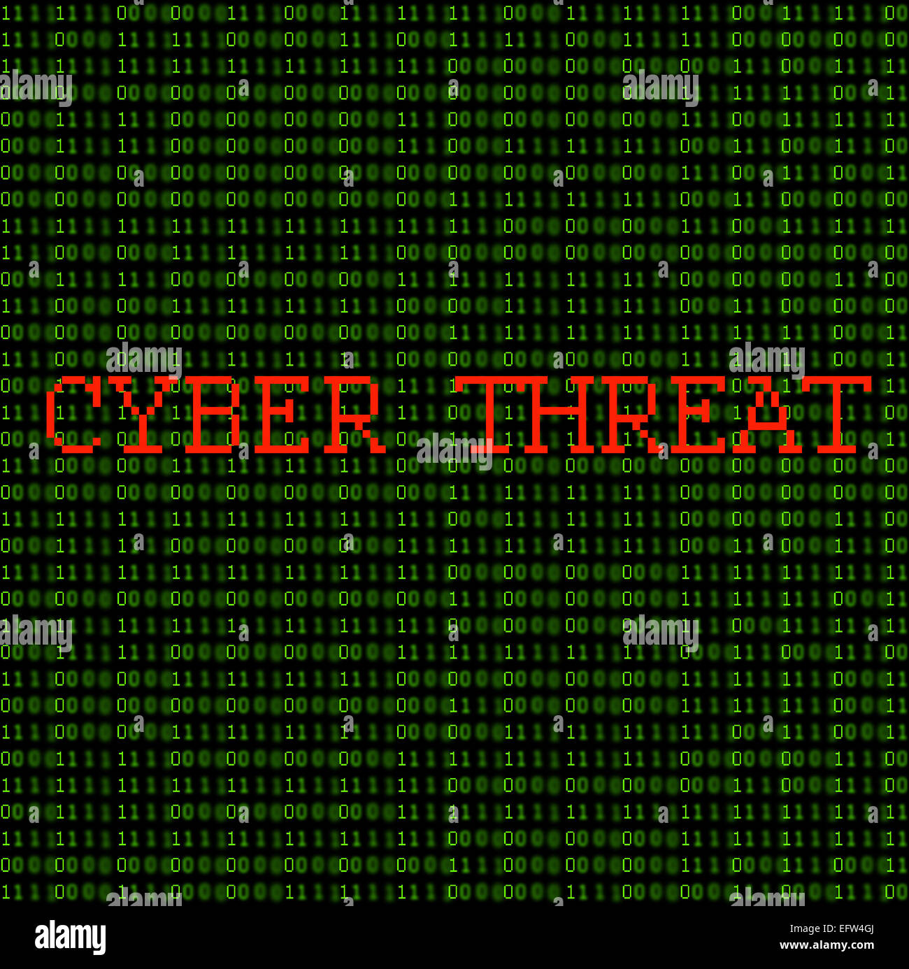 Green binary code with the words 'Cyber Threat' on a black background. - Stock Image