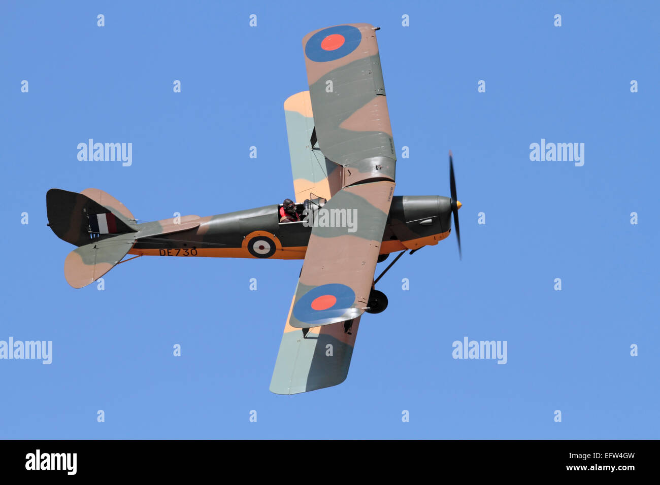 De Havilland Tiger Moth vintage biplane aircraft in the colours of a Royal Air Force World War II training plane - Stock Image