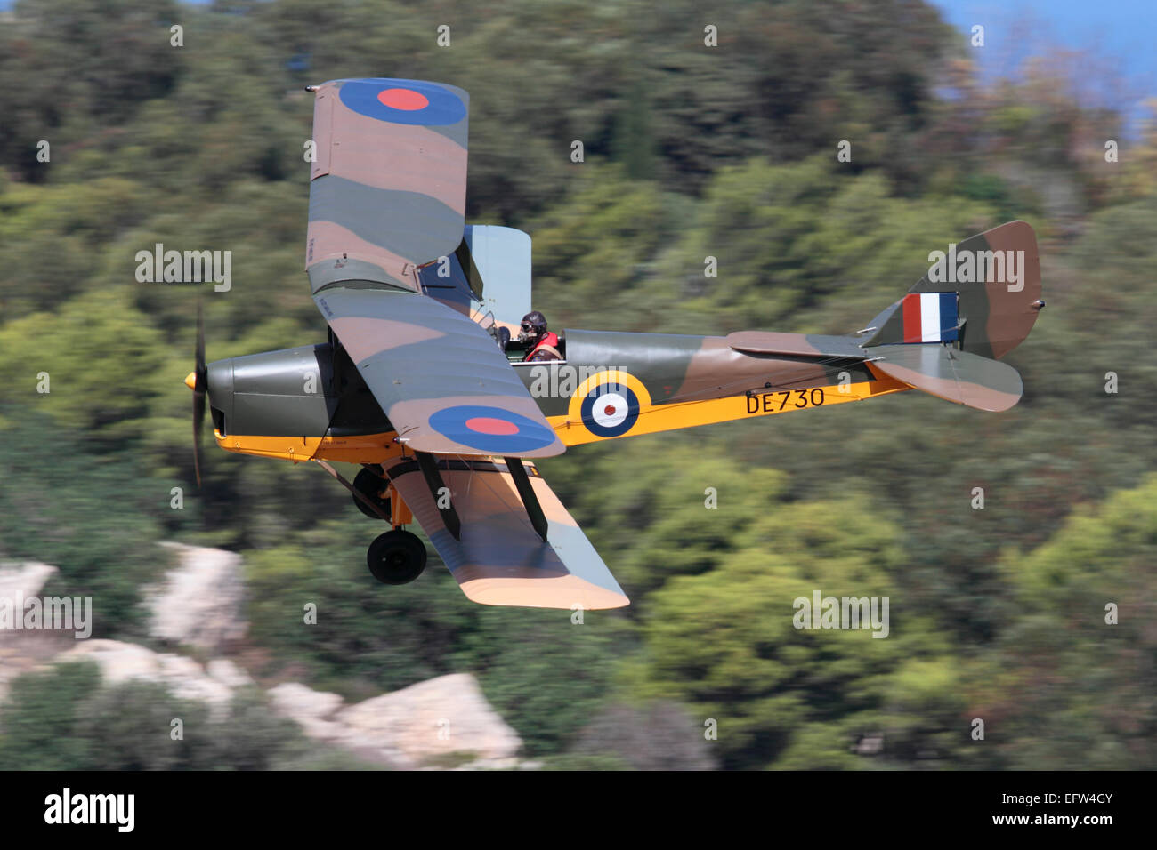 De Havilland Tiger Moth vintage biplane aircraft in the colours of a Royal Air Force World War 2 training plane - Stock Image