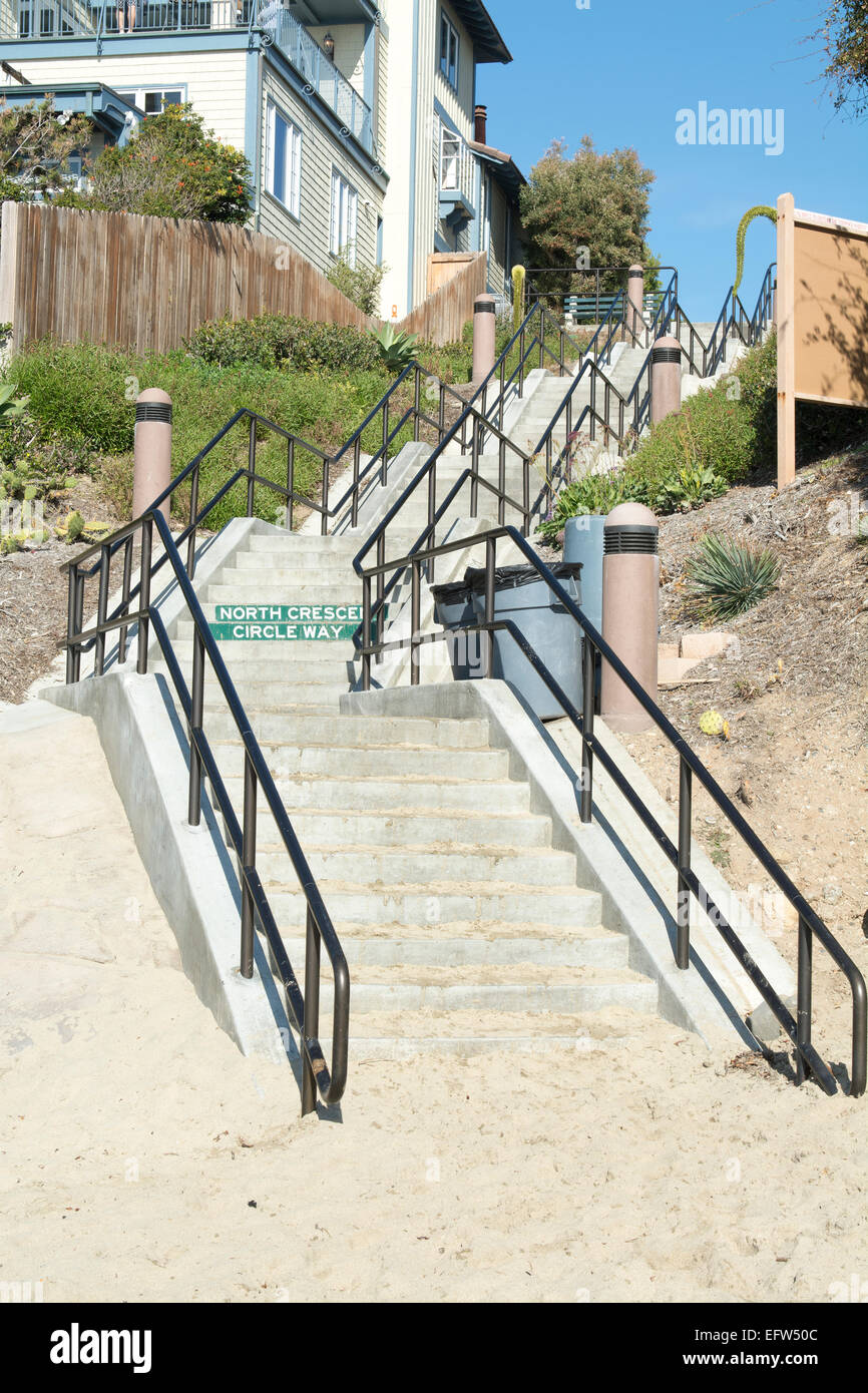 A Long Stairway Leads From The Beach Cove Up To The Main Street In A Laguna