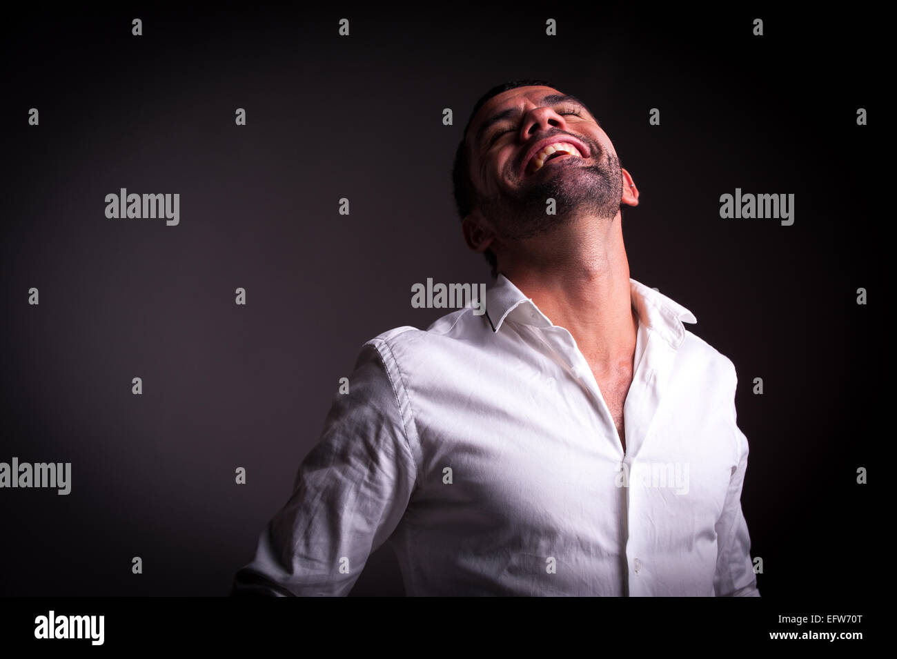 man showing satisfaction or happyness - Stock Image