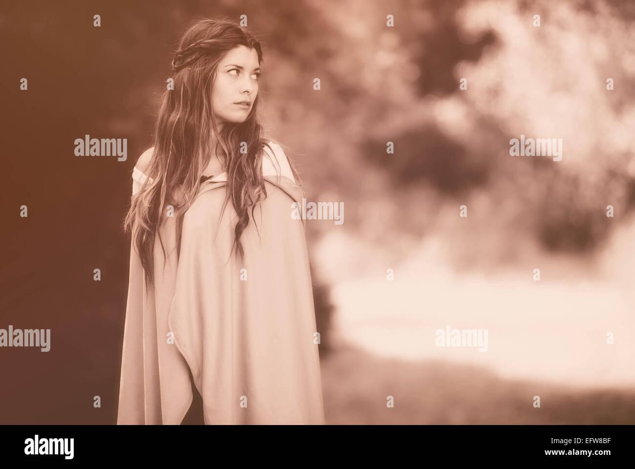 fantasy woman in cloak - Stock Image