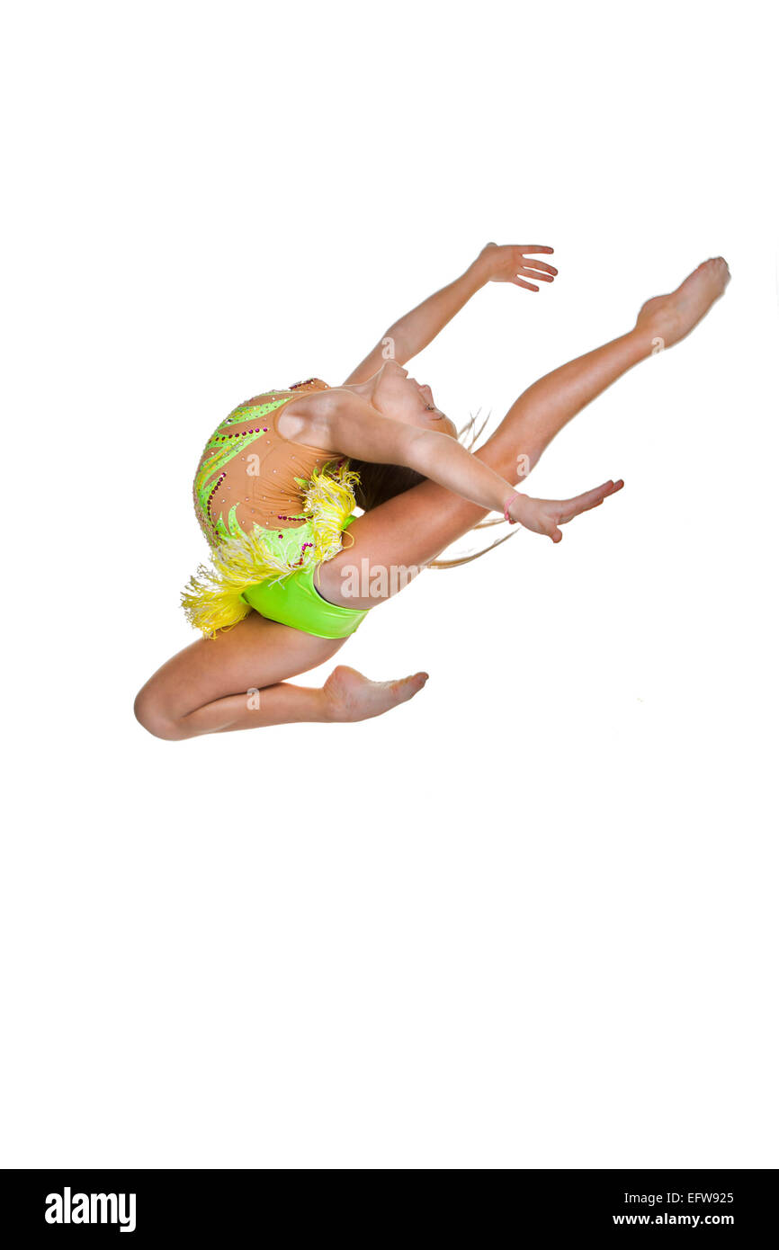 gymnast or ballet dancer leaping or jumping - Stock Image