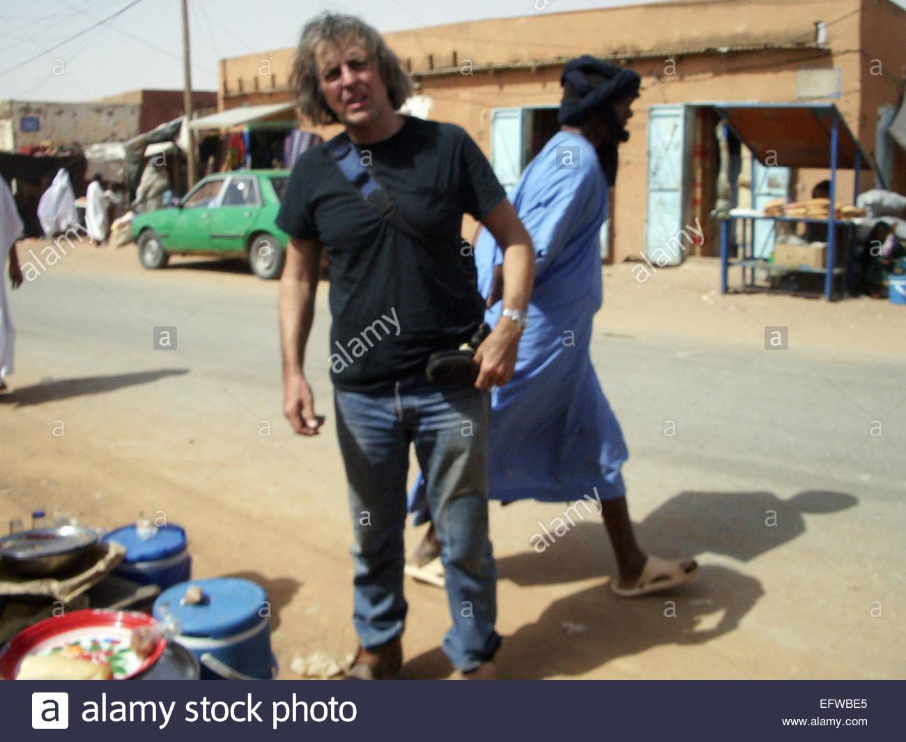 Tuareg Walking Behind Explorer Kypros Real People Person Human Being Africans Arabic Arab Arabs Muslim Caucasian - Stock Image