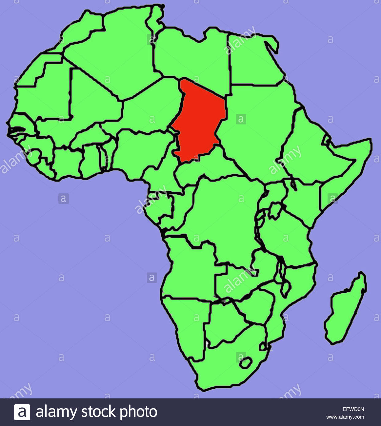 green map of african continent red area is chad republic of chad central africa republique du tchad chadians tcd 2000