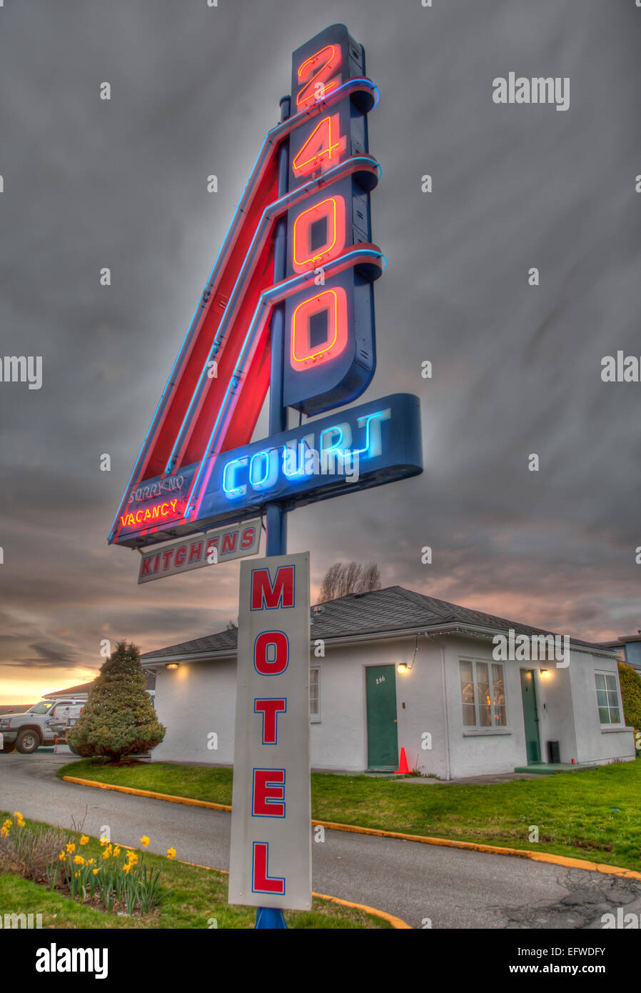 HDR imag of a neon sign at an old motel, Vancouver, BC - Stock Image