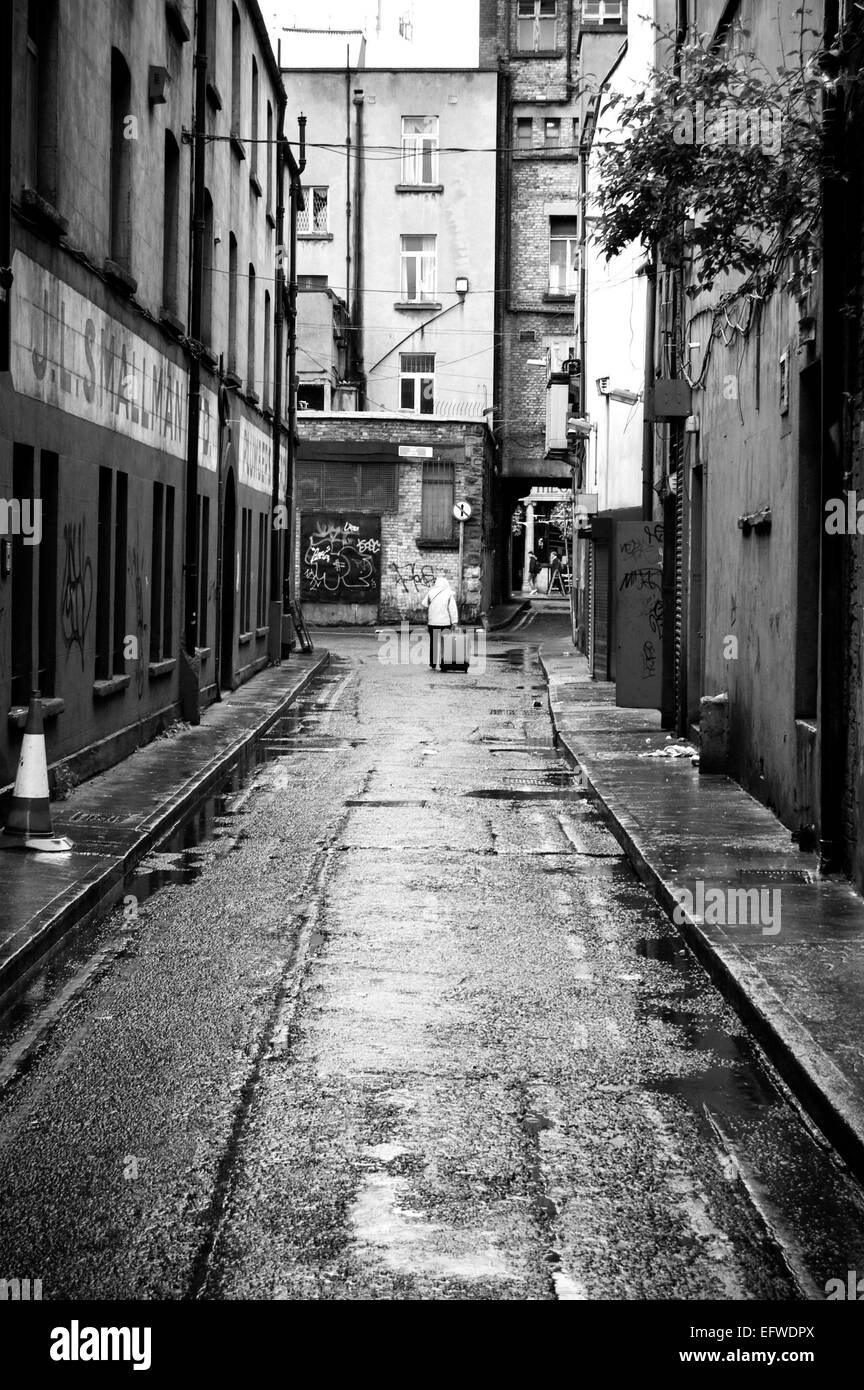 alley in downtown Dublin, Ireland - Stock Image