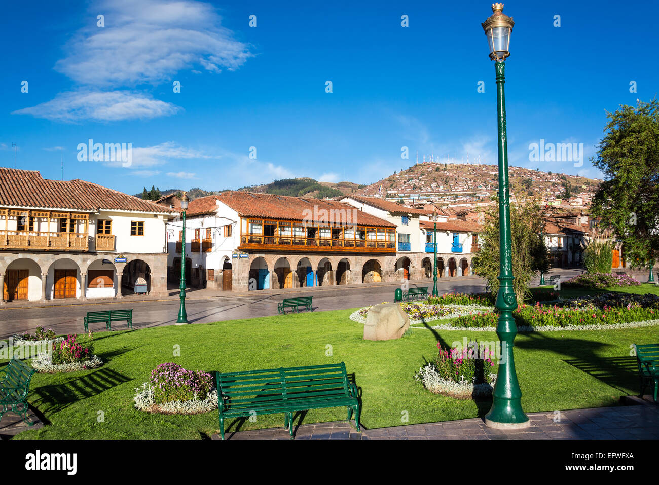 View of the Plaza de Armas of Cuzco, Peru with beautiful colonial architecture visible - Stock Image