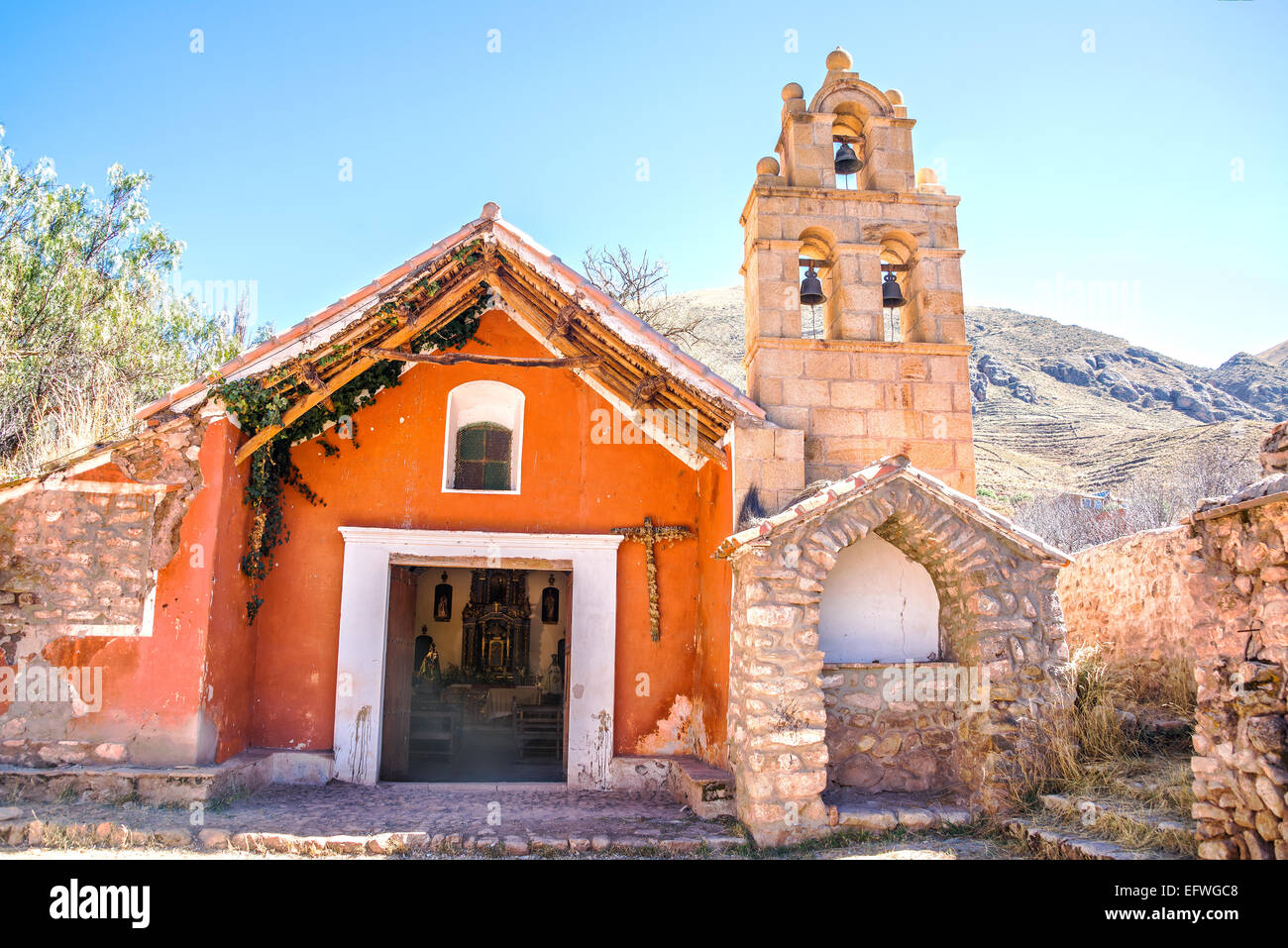 Small colonial chapel outside of Potosi in rural Bolivia - Stock Image