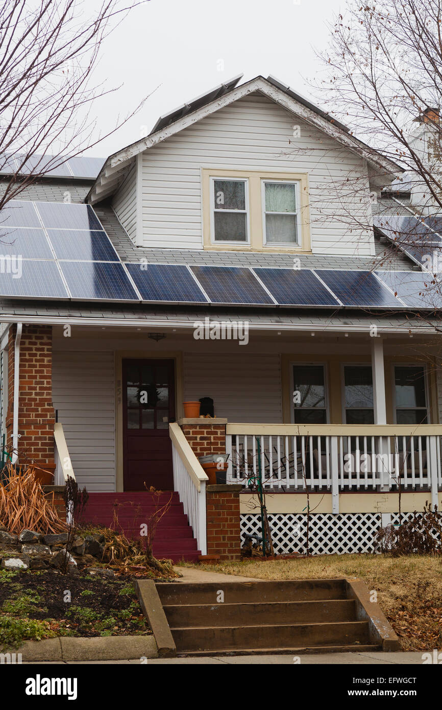 Solar Panels On Roof Of Small House Usa Stock Photo 78623016