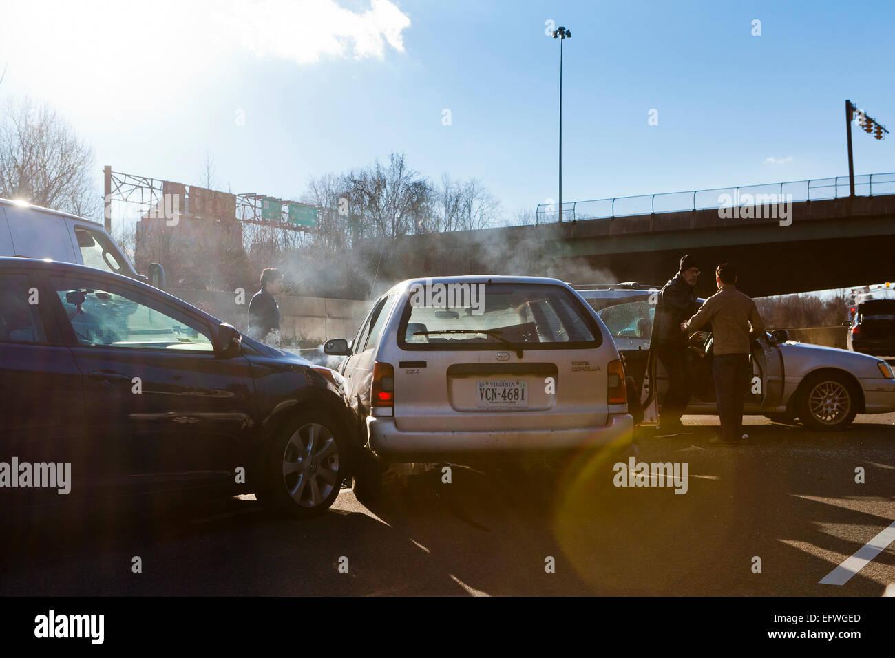 Multi vehicle auto  accident on road - USA - Stock Image