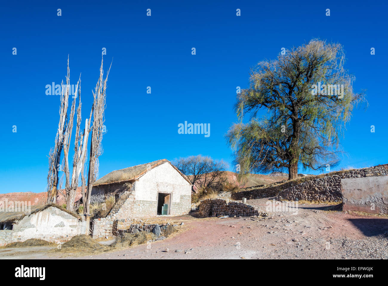 Old stone building in arid rural Bolivia near Potosi - Stock Image