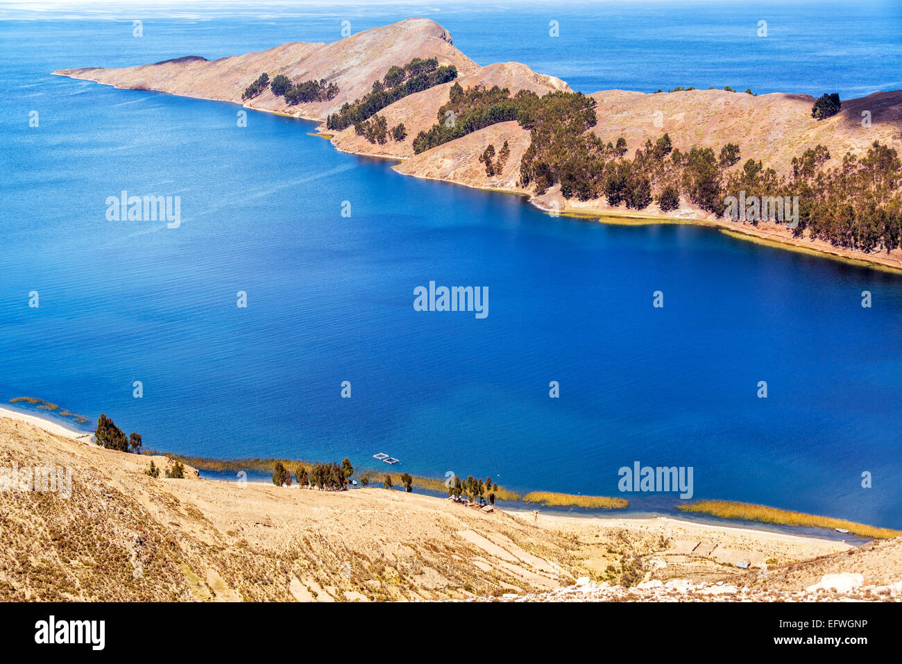 Long skinny peninsula on Isla del Sol on the Bolivian side of Lake Titicaca Stock Photo