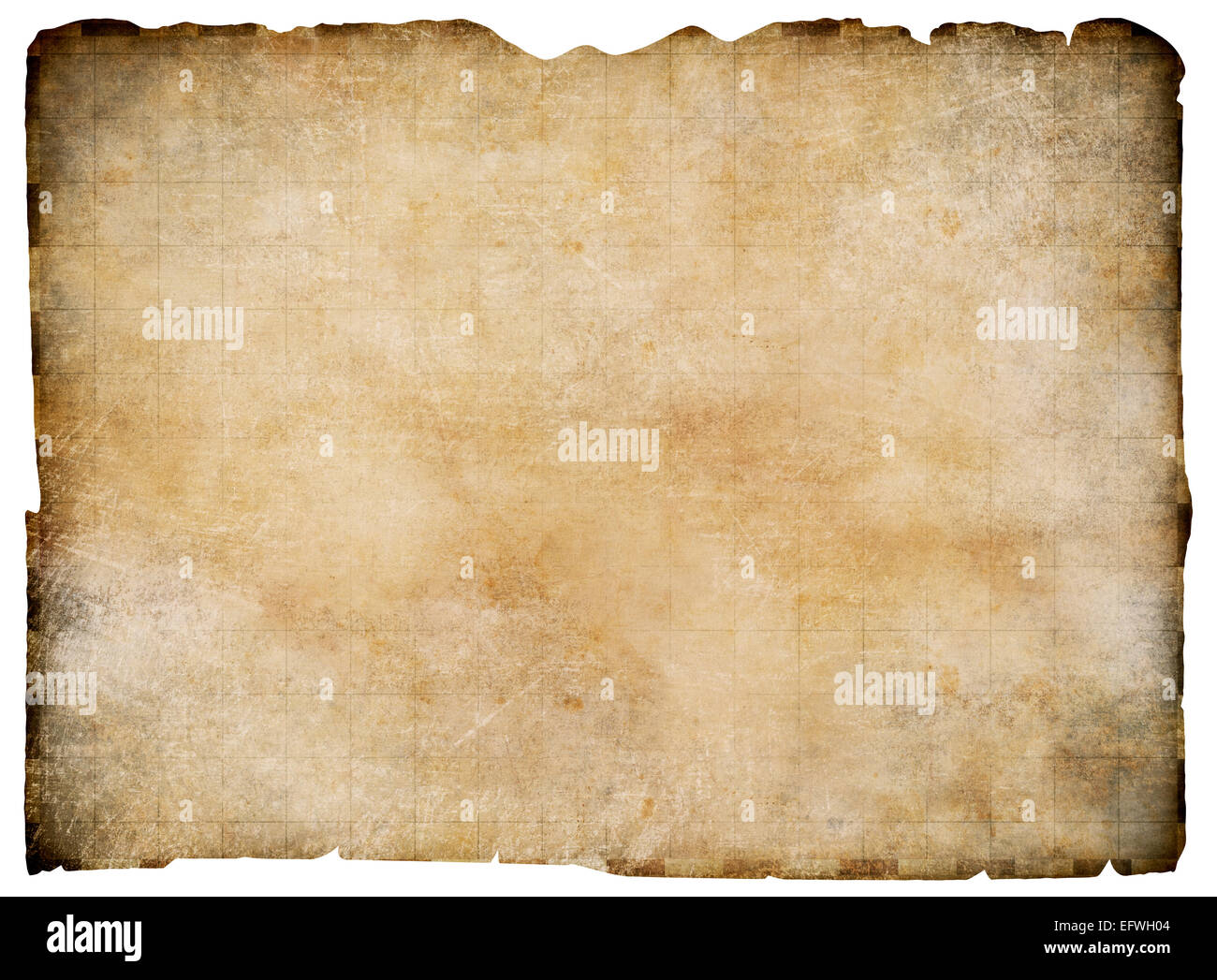 Old blank parchment treasure map isolated. Clipping path is included. - Stock Image
