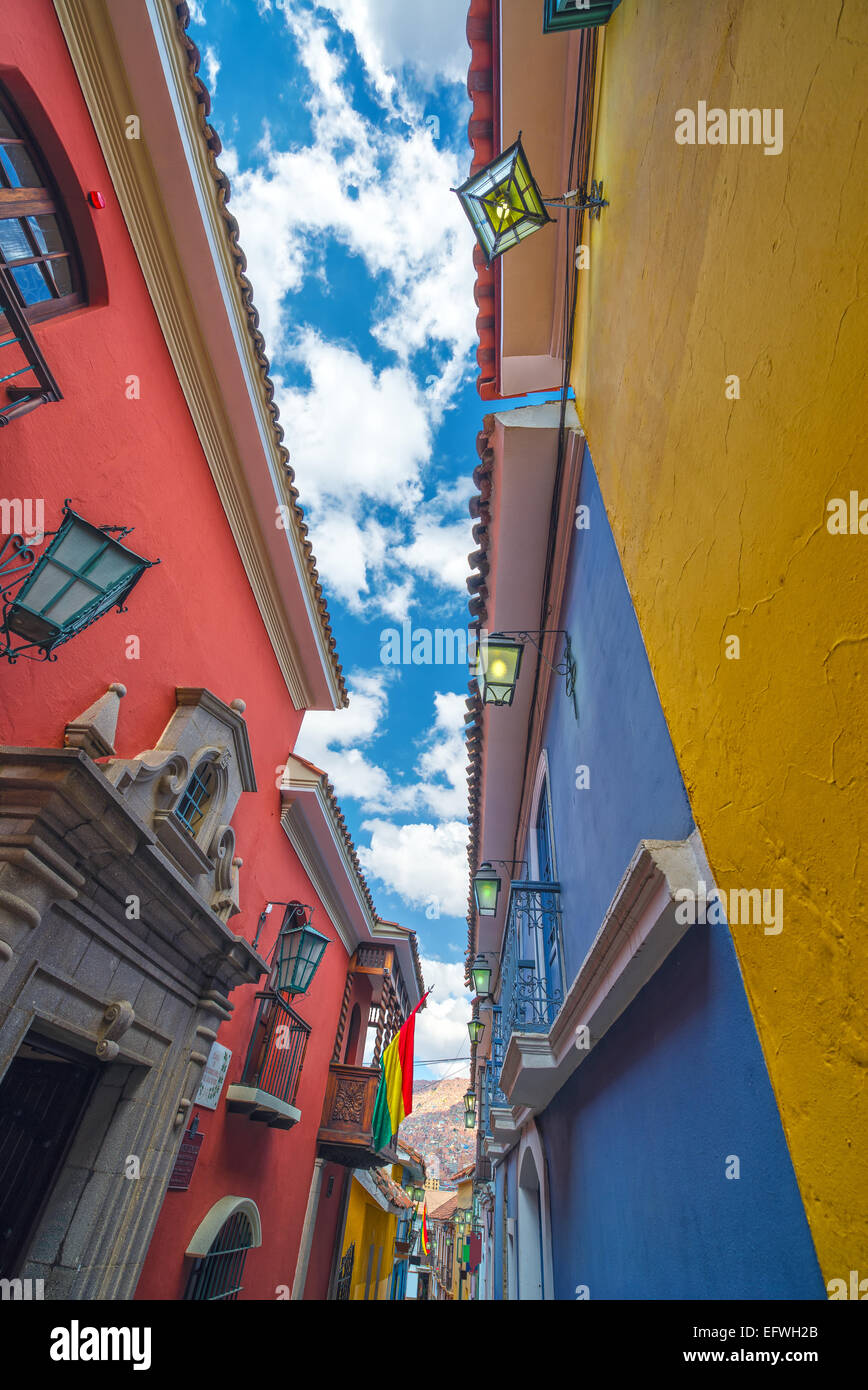 Colorful Jaen Street, the best preserved colonial street in La Paz, Bolivia - Stock Image