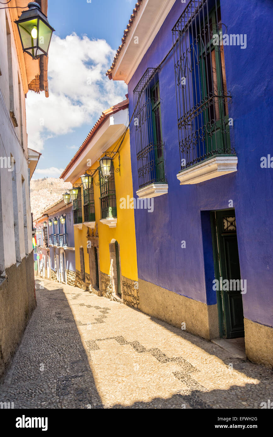 Jaen Street, the best preserved colonial street in La Paz, Bolivia - Stock Image