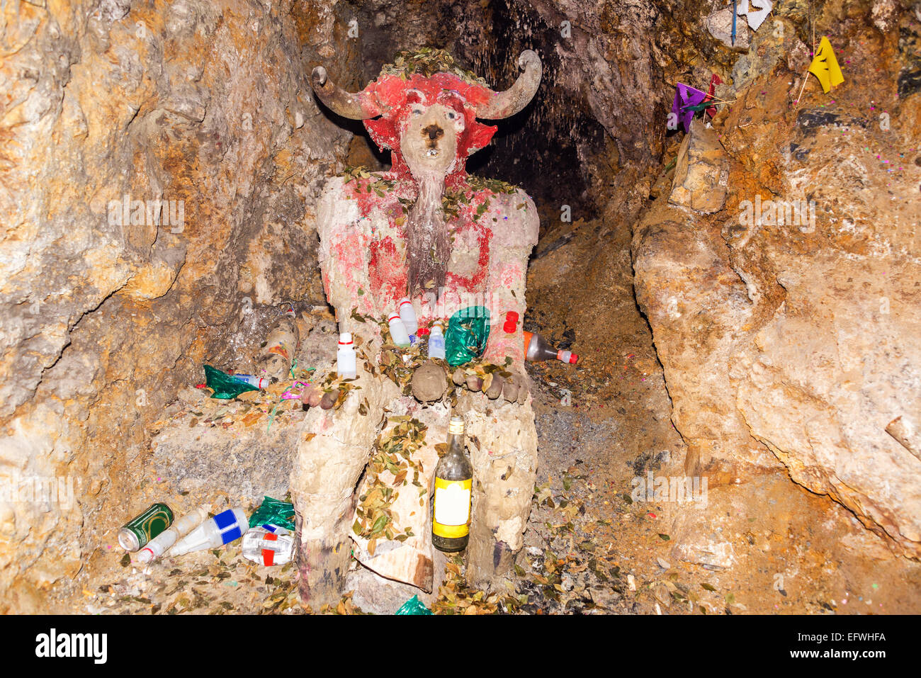Idol to 'El Tio' in a mine in Potosi, Bolivia.  Miners worship the idol and leave it offerings. - Stock Image
